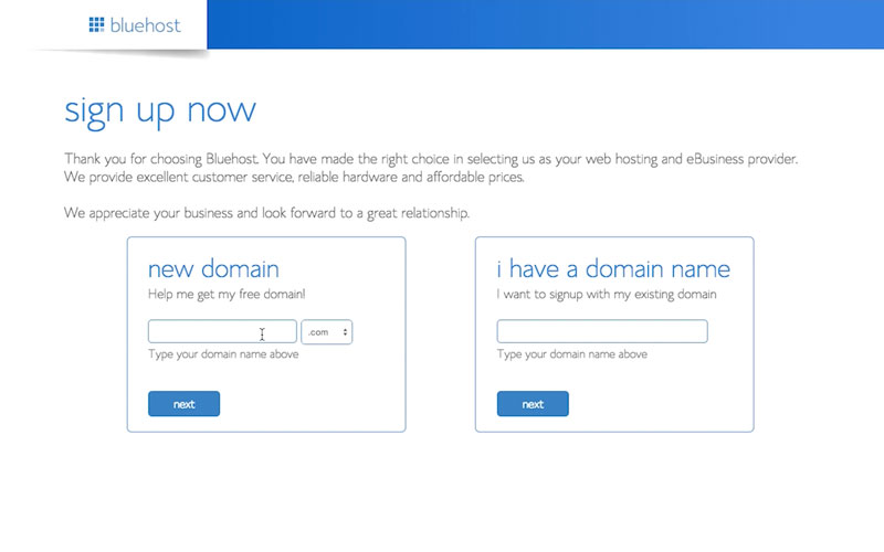 how to sign up for bluehost web hosting