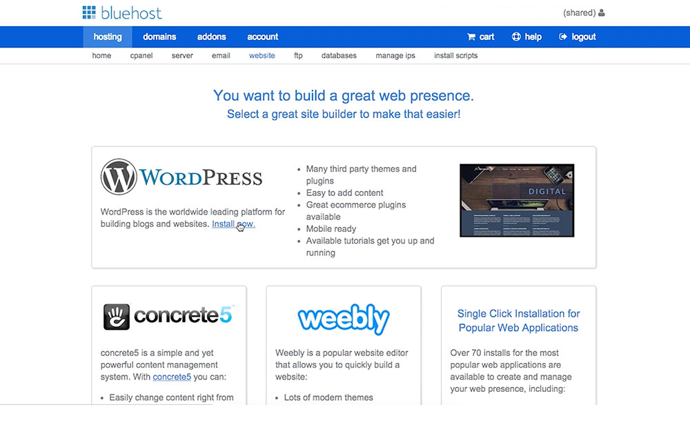 installing wordpress on your bluehost website blog