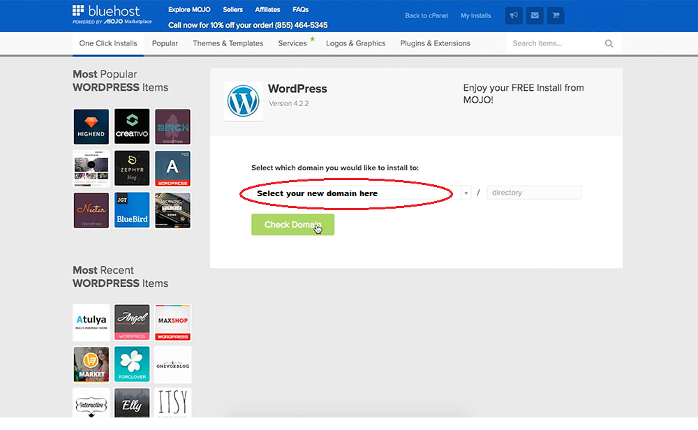 installing wordpress with bluehost web hosting