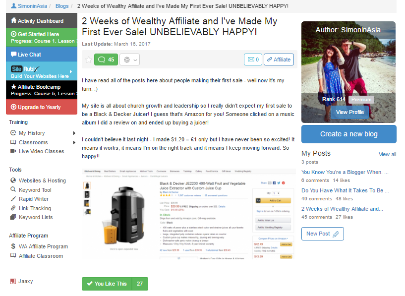 wealthy affiliate community members