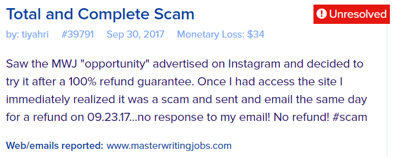 master writing jobs scam reviews