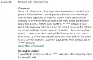 harris poll online reviews complaints