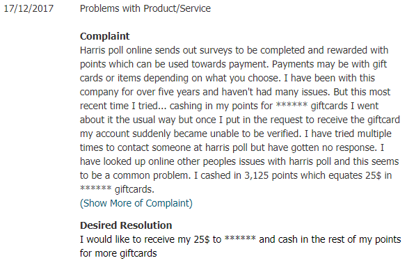 harris poll online reviews complaints