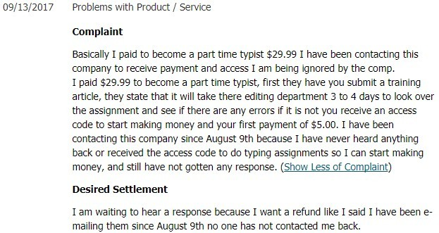 type at home scam complaints
