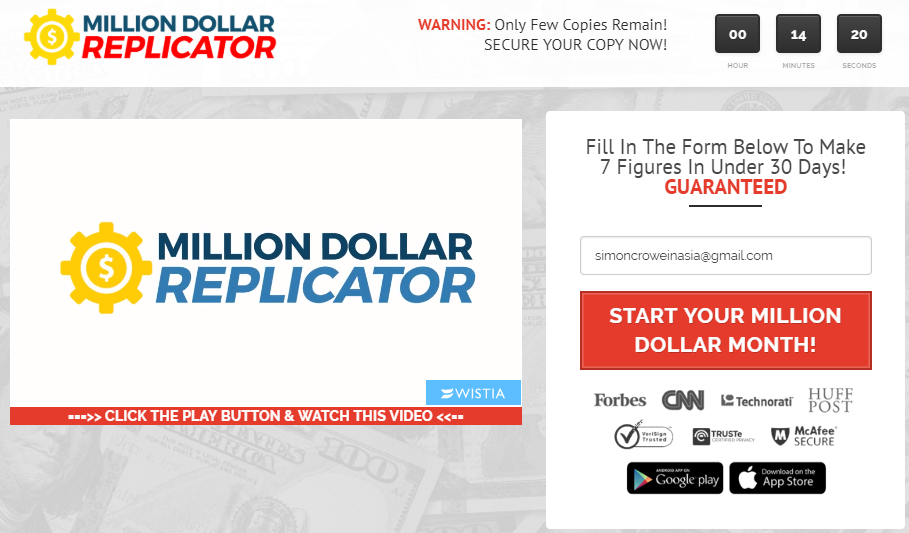 what is million dollar replicator a scam