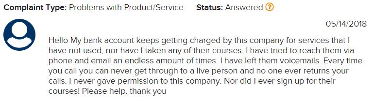 billing problems complaint