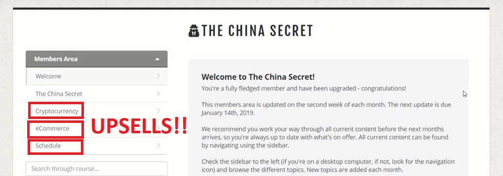 The China Secret Members Area Upsells