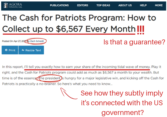 What Is The Cash For Patriots Program