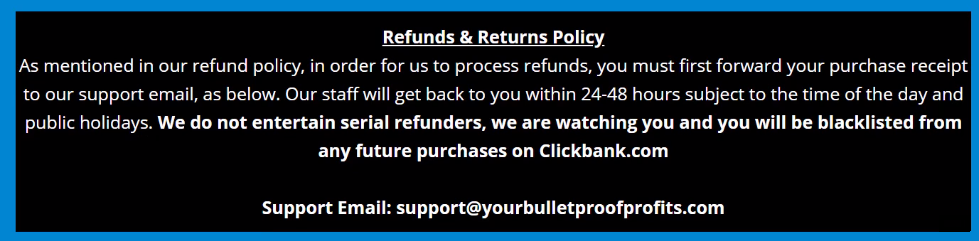 bulletproof profits refund policy