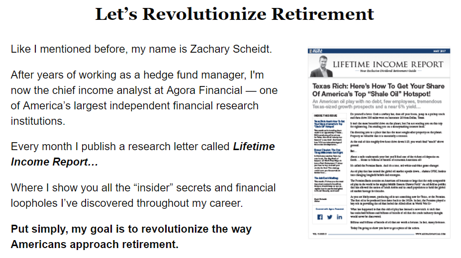 zach scheidt lifetime income report agora financial scam
