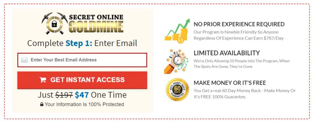 how much does secret online goldmine cost
