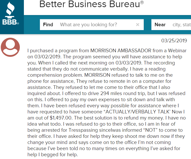 anthony morrison scams