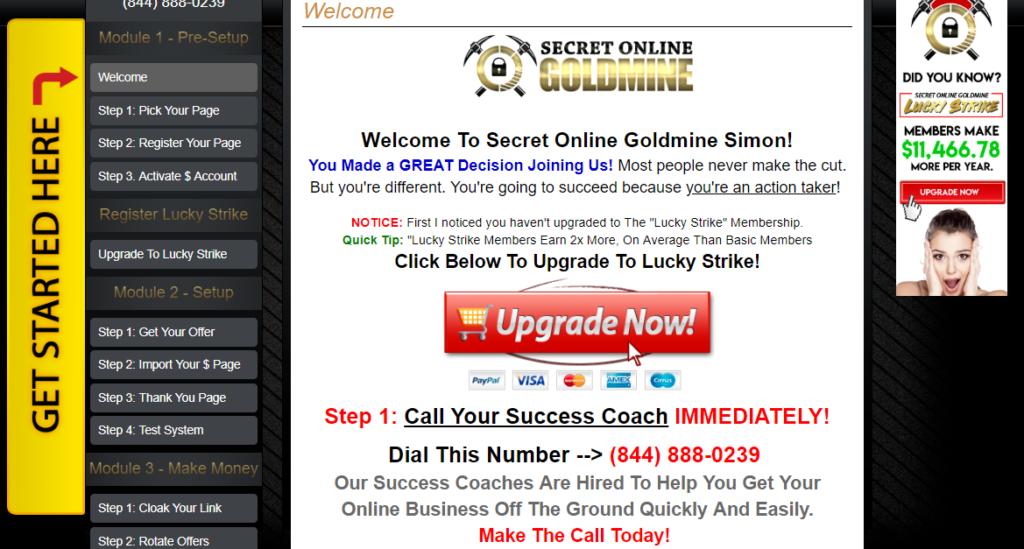 secret online goldmine log in training area