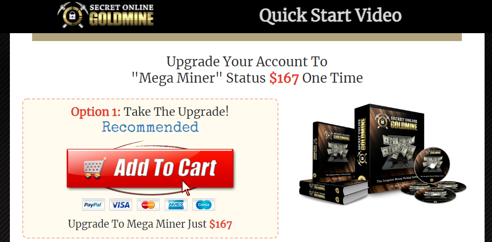 secret online goldmine mega miner upsell
