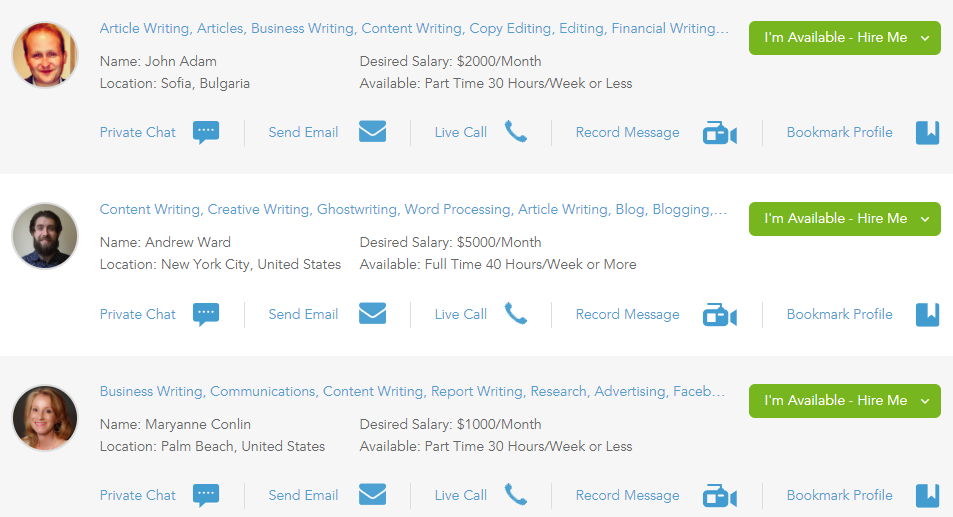 hiring writers on outsourcely