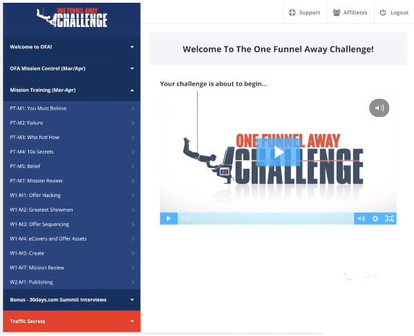 one funnel away challenge members area