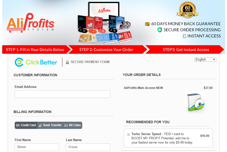 aliprofits system upsells costs and prices