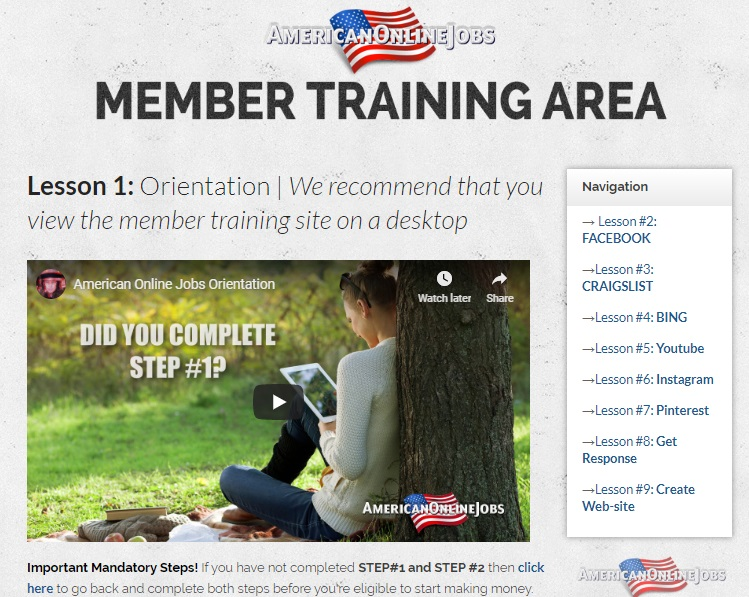 american online jobs training area