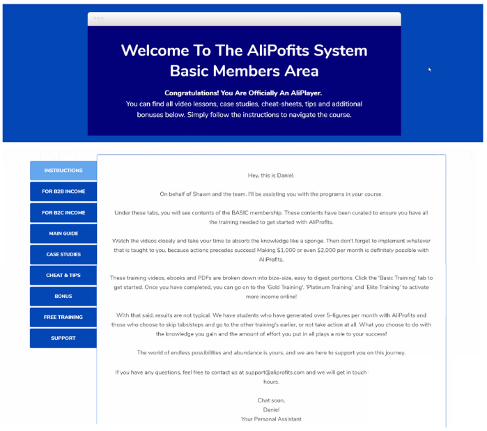 screenshot of AliProfits System members area