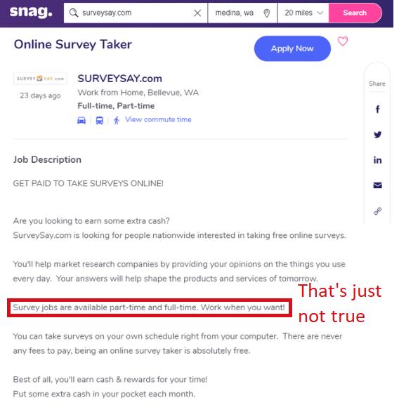 surveysay job snagajob job listing