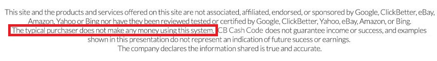 CB Cash Code income disclaimer