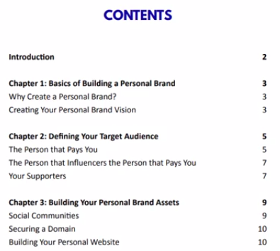 the cb cash code training ebook contents page