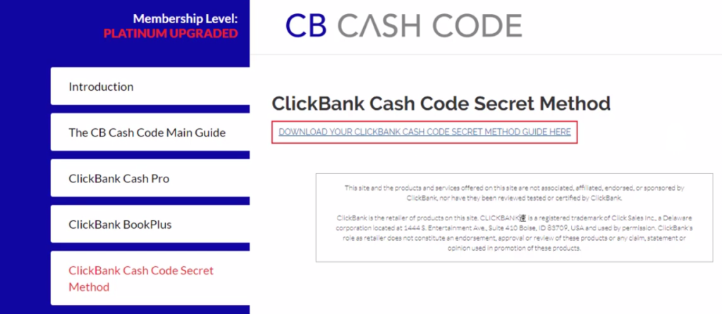 inside the cb cash code members area
