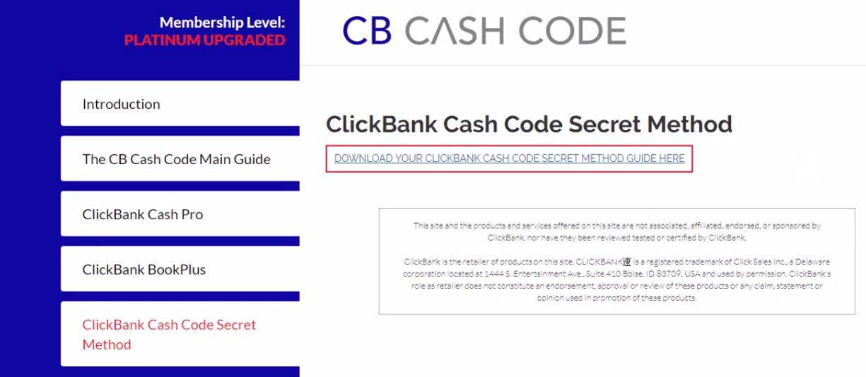 inside the cb cash code members area