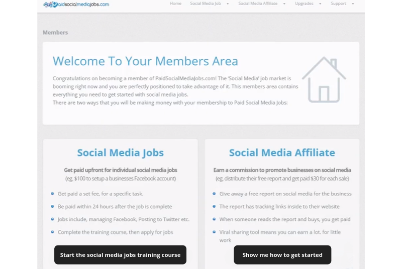 paid social media jobs members area