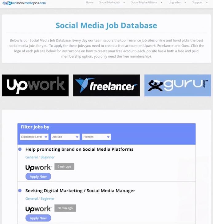 social media jobs database