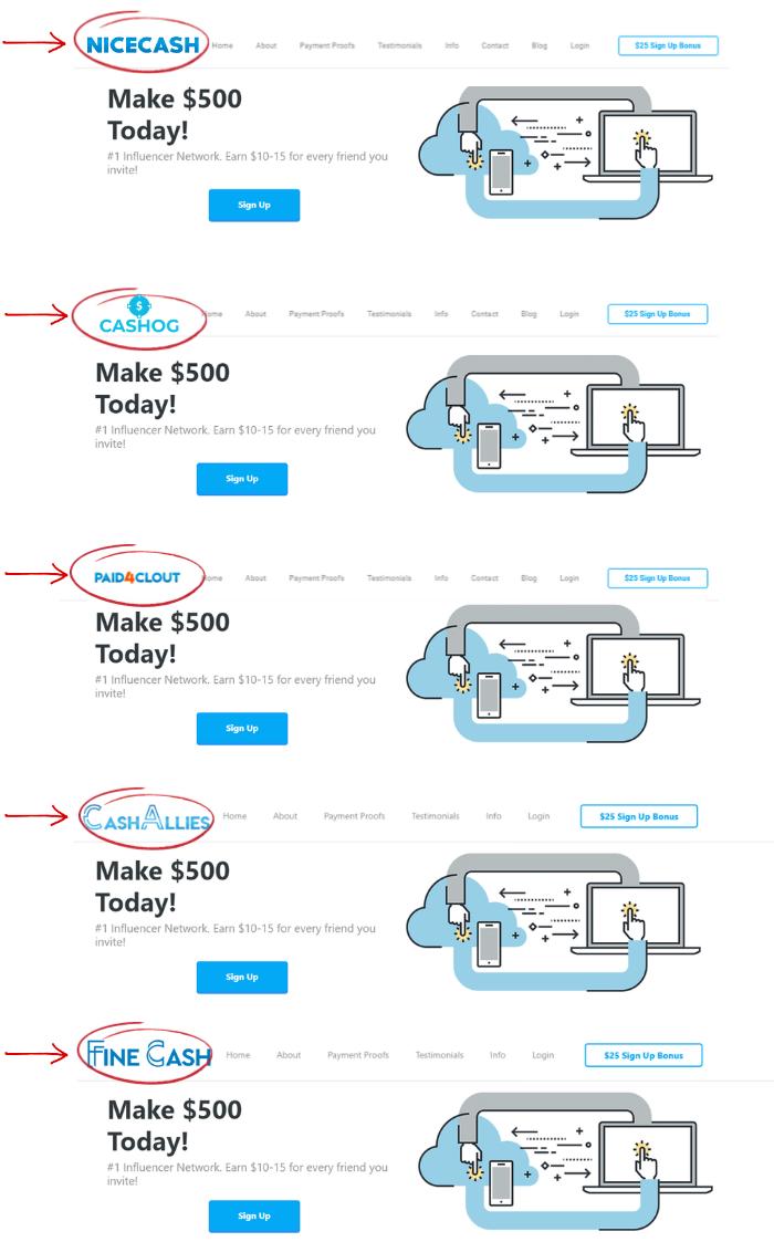 nicecash cloned scam websites