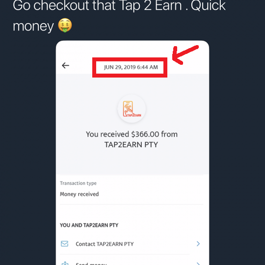 tap2earn payment proof is fake