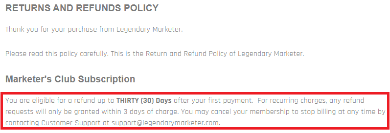 legendary marketer refund policy