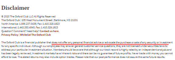 Oxford Income Letter Disclaimer