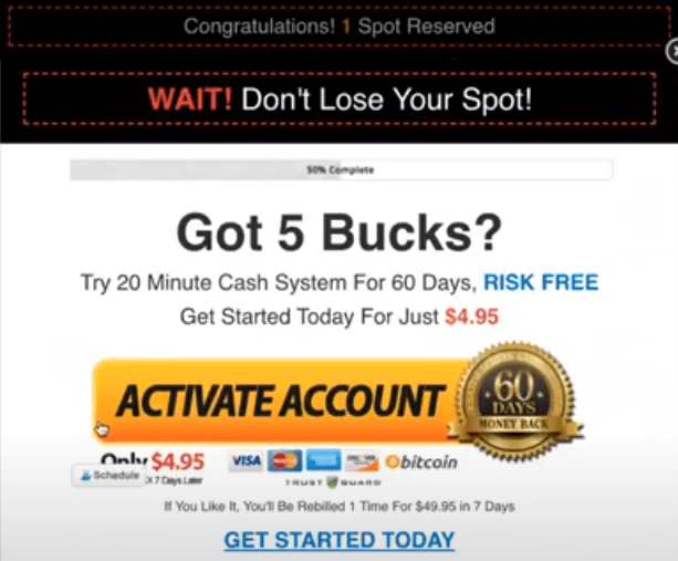 20 Minute Cash System Pop Up Page