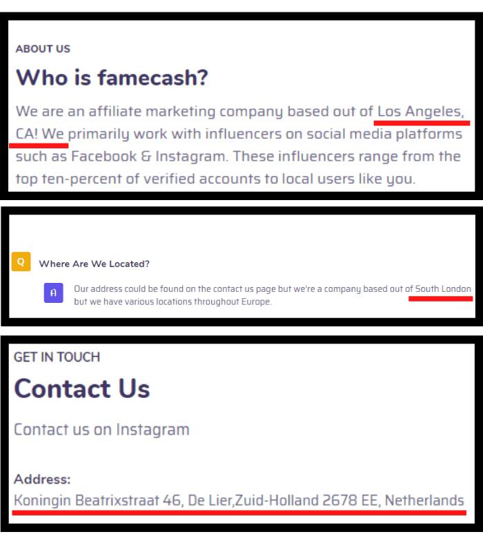 FameCash Fake Address