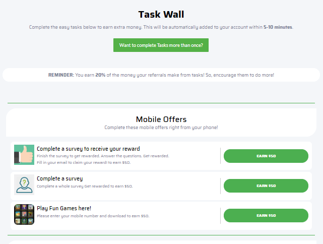 FameCash Task Wall