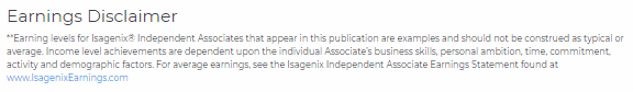 Isagenix Income Disclaimer