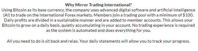 Mirror Trading International Statement