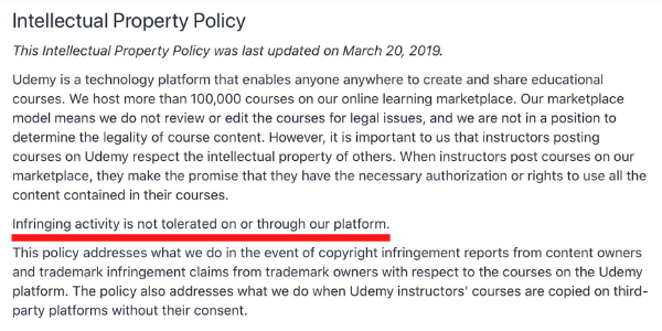 Udemy Intellectual Property Policy