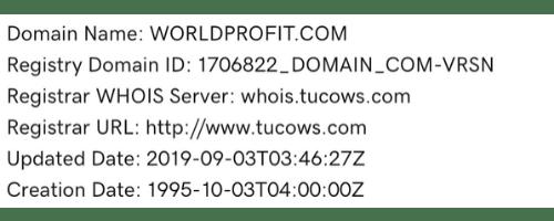 WorldProfit Domain Details