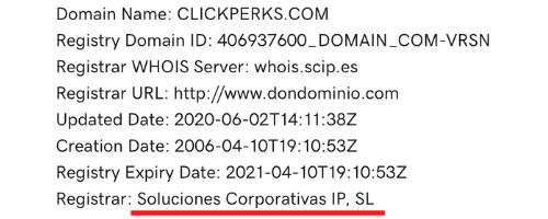 Clickperks Domain Details