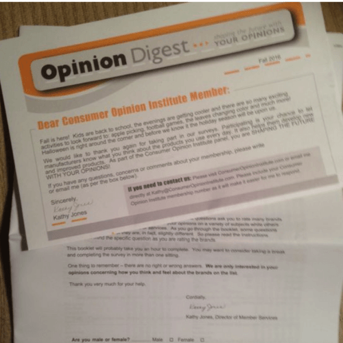 Consumer Opinion Institute Survey Through Mail