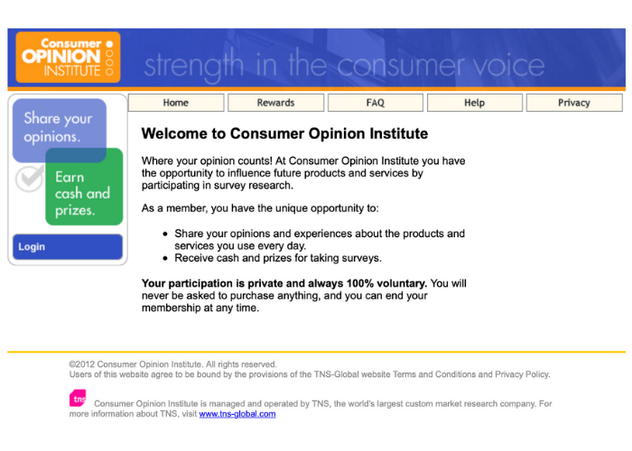 Consumer Opinion Institute Website