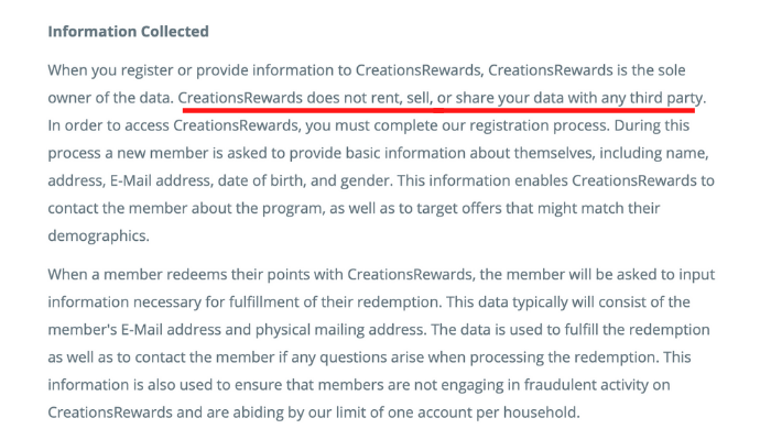 Creations Rewards Privacy Policy
