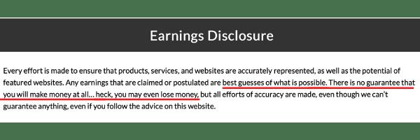 Free Turnkey Websites Earning Disclosure