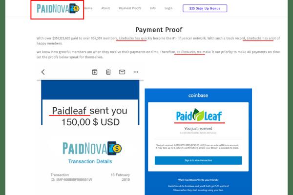PaidNova, PaidLeaf, LiteBucks Connection