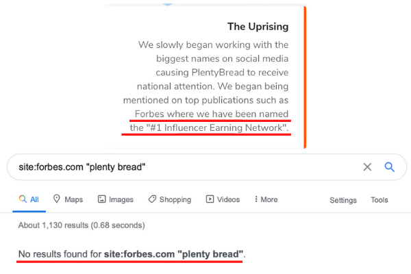 Plenty Bread Forbes Fake Claims