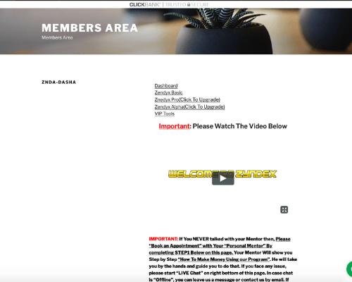 Zendyx Members' Area