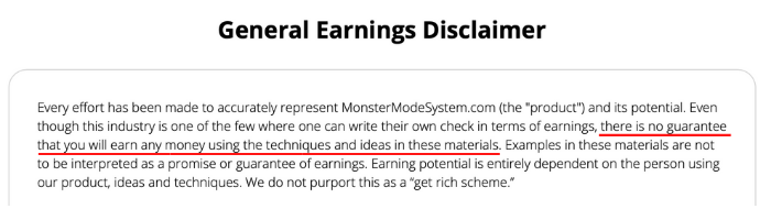Monster Mode 700k Earning Disclaimer
